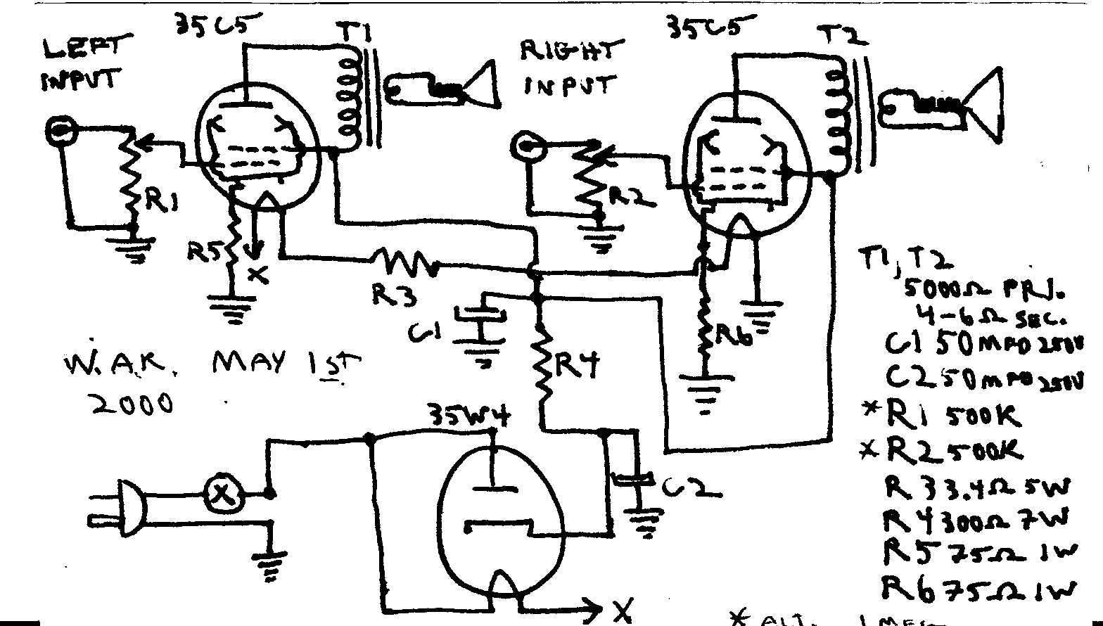 Tube Amplifier Circuit http://www.wkinsler.com/radios/three_tube_stereo_amp.html